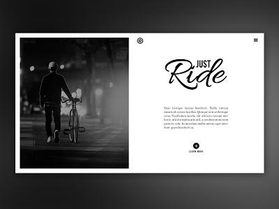 Just Ride Webdesign website webdesign black ui white bicycle layout interaface homepage bike