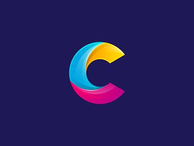 C multicolor logo letter gradient design creative c