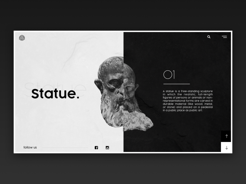 Statue / Web UI statue screen splitscreen split application app branding icon vector typography web layout website logo design ux ui