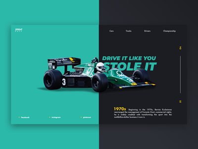 F1 / Web UI racing race formula1 car sportcar icon branding one letter page typography application app webdesign layout website web ux ui design