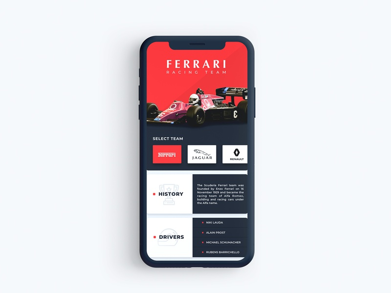 Ferrari / App UI red racing race car ferrari wireframe typography vector icon application app layout design ux ui