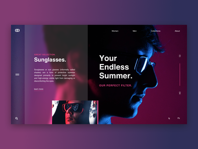 Sunglasses / Web UI neon sunglasses icon vector one page letter typography application app webdesign layout web website design ux ui