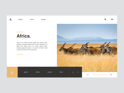Africa / Web UI animals wild clean africa lettering flat wireframe type icon typography application app webdesign minimal layout web ux website ui design