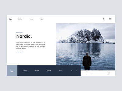 Nordic / Web UI clean mountains nordic lettering type flat letter typography application app webdesign minimal layout web ux website ui design