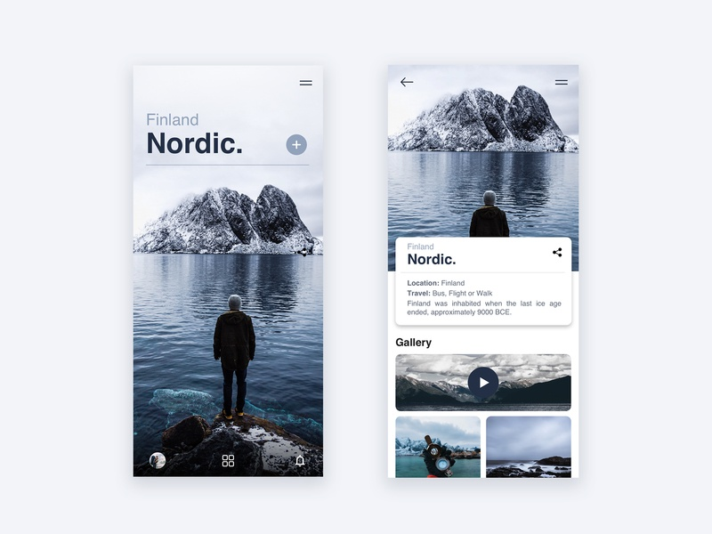 Nordic / App UI mountain winter nordic north flat icon typography application app webdesign minimal web layout website design ux ui