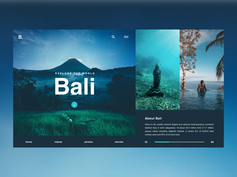 Bali / Web UI blue bali travel letter typography application app webdesign layout web website design ux ui