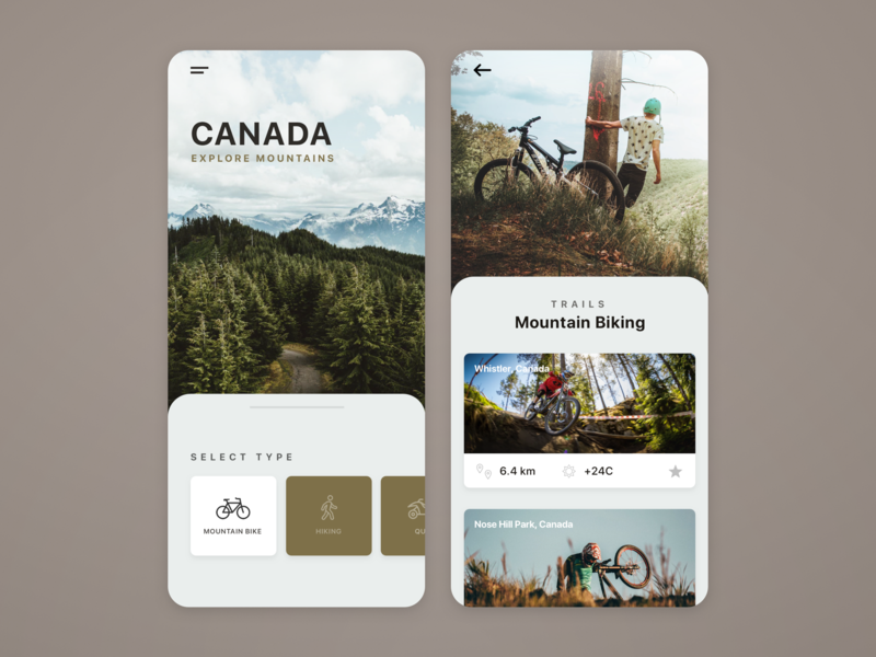 Mountain Trails / App UI biking bike trails mountain minimal icon illustration flat branding typography application app webdesign layout web website design ux ui