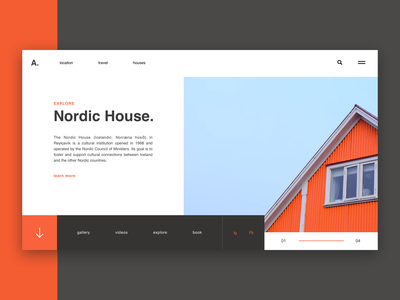 Nordic House / Web UI roof north nordic house page typography application app minimal webdesign layout web ux website ui design