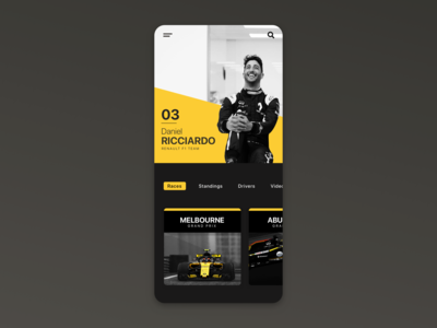 Daniel Ricciardo F1 / App UI