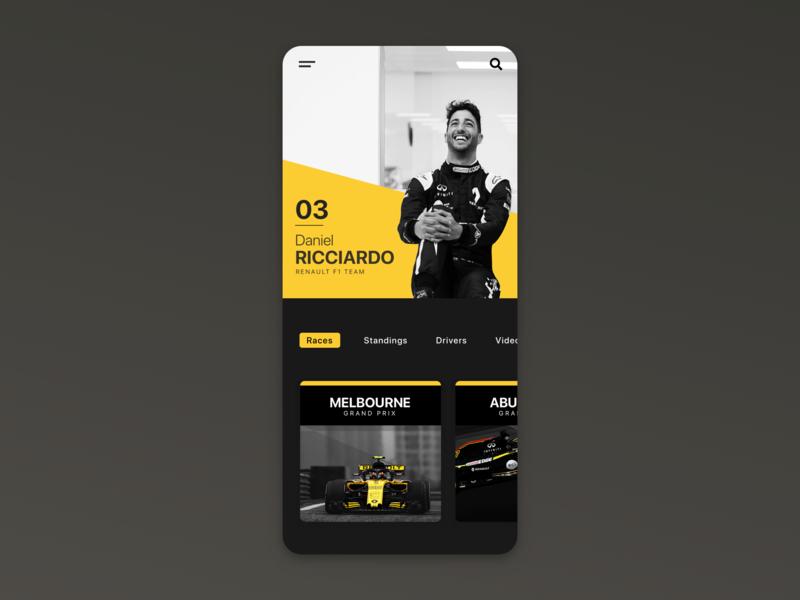 Daniel Ricciardo F1 / App UI renault driver ricciardo daniel racing formula1 f1 vector typography application app minimal webdesign layout web ux ui