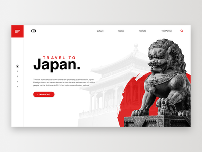 Japan / Web UI statue red temple lion japanese japan wireframe letter icon typography application app webdesign layout web website design ux ui