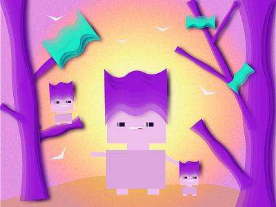 colorful forest characterdesign minimal flat ілюстрація vector illustration
