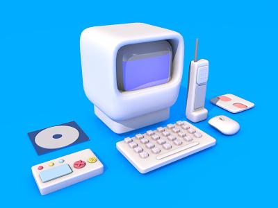 Old PC and gadgets ілюстрація website 3d art дизайн web ui illustration