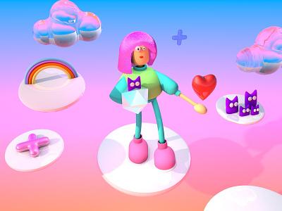 sunny girl with cats characterdesign дизайн web animation 3d art ілюстрація design illustration