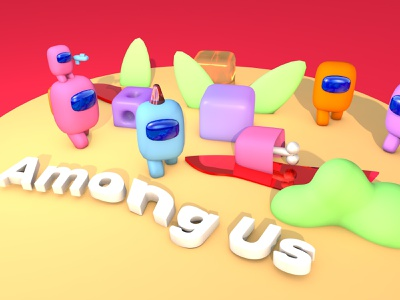 Among Us branding minimal web animation 3d art ілюстрація design illustration