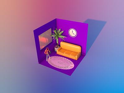 Bannies at home minimal web ілюстрація illustration 3d art design
