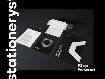 TeleSoftas Stationery modern minimal typography business flyer black  white business print identity brand identity branding corporate animation 3d mockup document logo invoice business card stationery mockup stationery