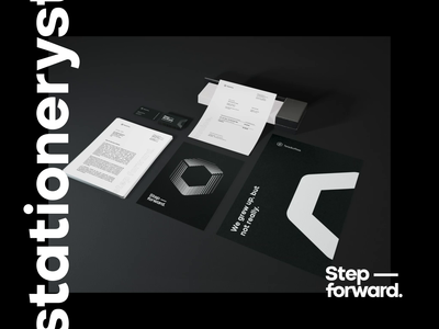 TeleSoftas Stationery modern minimal typography business flyer black  white business print identity brand identity branding corporate animation 3d mockup document logo invoice business card stationery mockup stationery