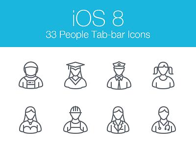 iOS 8 People Icons ios 8 professions people users iphone ipad icons tab bar toolbar thin icons