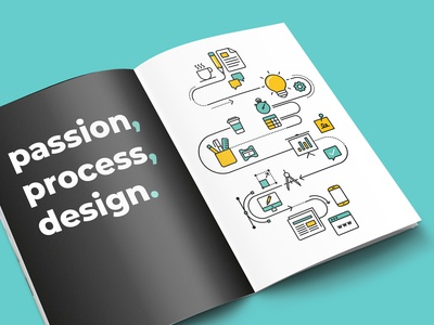 Design process infographic using Pixellove icons