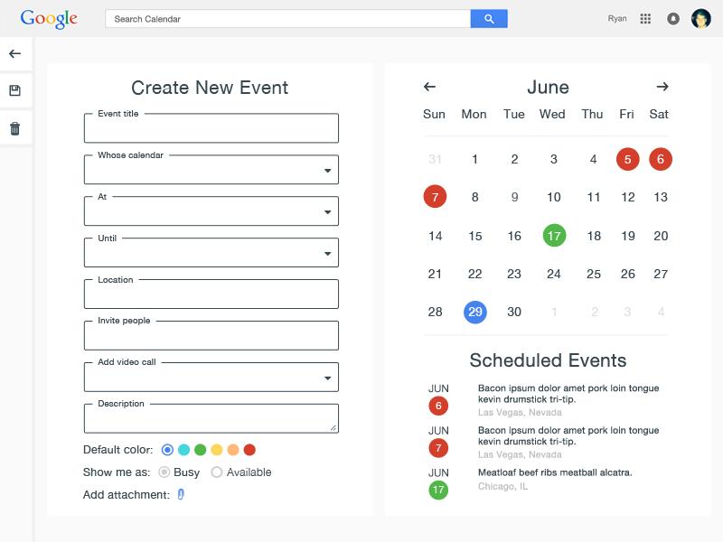 Google Calendar Create Event By Ryan Thies Dribbble Dribbble