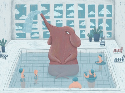 At the swimming pool book illustration swimming pool swimmingpool elephant kidlitartist kidlitart children book illustration digital drawing digital art digital painting illustration happy art kids illustration digital illustration photoshop childrens illustration