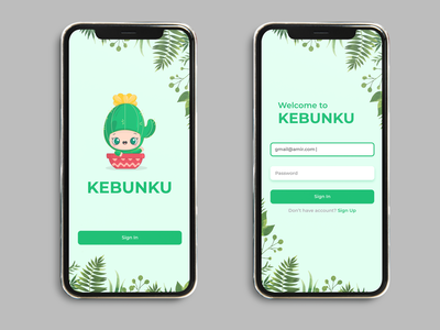 Gardening Mobile App Landing and  Login Screen gardening ui mobile app garden