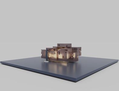 Float House architectural balsa wood model 3d magicavoxel voxelart voxel