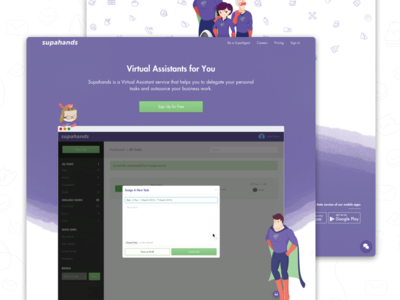 Supahands' Brand New Page landing page assistant virtual startup malaysia illustration visual supahands