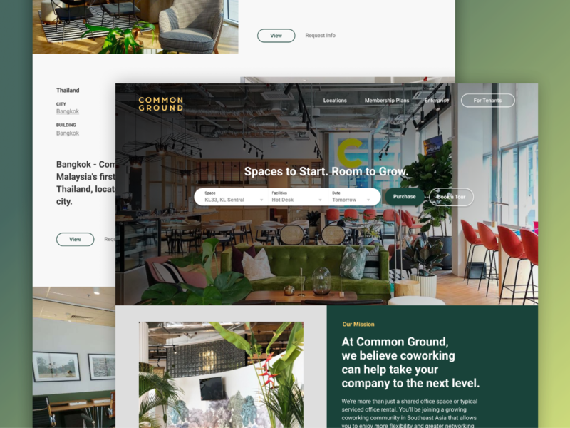 Coworking Space - Common Ground page design interior design landing page landing space coworking malaysia