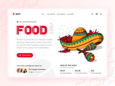 NUT A Food Delivery Landing Page web landing page chef app mexican style mexican taco branding ui ux design adobe landingpage food delivery service landing page food delivery landing page website eating eat food