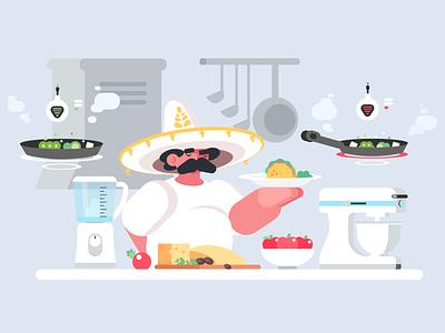 Chef Illustration adobe design cooking kitchen mexican style illustration cook chef food mexican mexico