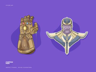 Marvel's Avengers Villain Thanos - Vector Illustrations.
