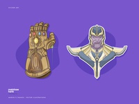 Marvel's Avengers Villain Thanos - Vector Illustrations.