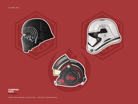 Star Wars Character Helmets Collection - Vector Illustrations.