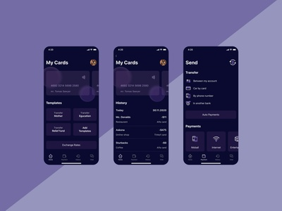 Banking application ui  ux app design bank card bank app