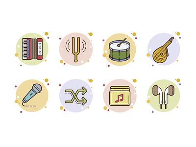 bubbles music microphone fork shuffle headphones drum bandore accordion sound musical instruments music ux icon art web artwork ui design illustration vector
