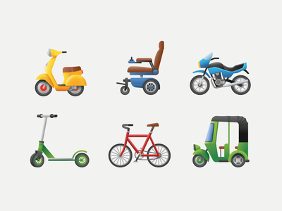 Emoji transport 3 motorsport sport rickshaw bicycle scooter motorcycle wheelchair transport emoji ux ui illustration icon vector