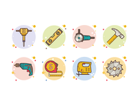 bubbles tools saw blade tape measure hammer drill jigsaw jackhammer level tool angle grinder toolkit instruments tools ux web illustration ui icon design vector