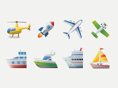 Emoji transport 4 sailing sailboat boat ferry ship travel plane helicopter rocket airplane air transport emoji icon web illustration ui design vector