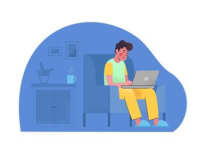 remote working comfort coffee laptop designer homework home office freelancer remote work man ux artwork web illustration design ui vector