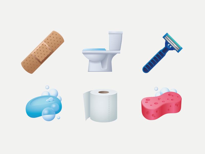 Emoji hygiene sponge blade soap toilet paper patch toilet hygiene emoji ux icon web illustration design ui vector
