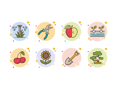 bubbles gardening hydroponics irrigation apple cherry flower plants growing watering tools vegetables fruits gardening summer ux icon web design ui vector