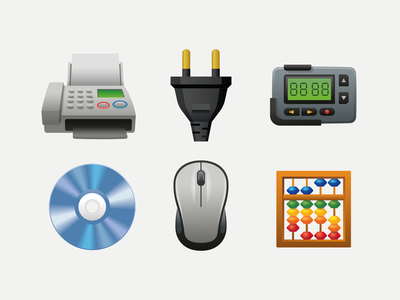 Emoji objects plug abacus mouse disc cd dvd pager fax digital emoji ux icon illustration web design ui vector