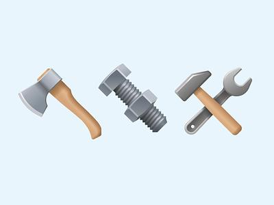 Emoji tools wrench axe hammer bolt screw nut instruments tools emoji ux icon illustration web design ui vector