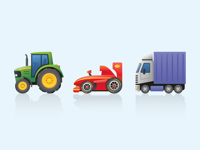 Emoji transport 5 articulated f1 racing car racing car lorry tractor transport ux emoji icon illustration web design ui vector