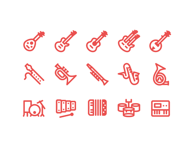 Fluent system icons music band clarinet percussion saxophone orchestra guitar music instrument music ux icon web design ui vector