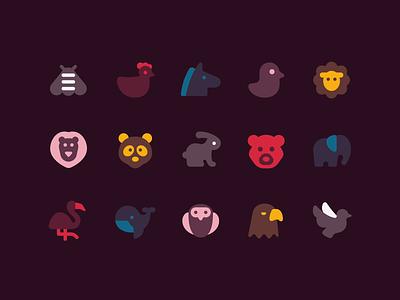 plumpy icons duotone stylized retro minimalistic birds domestic wild animals icons set ux icon design web ui vector