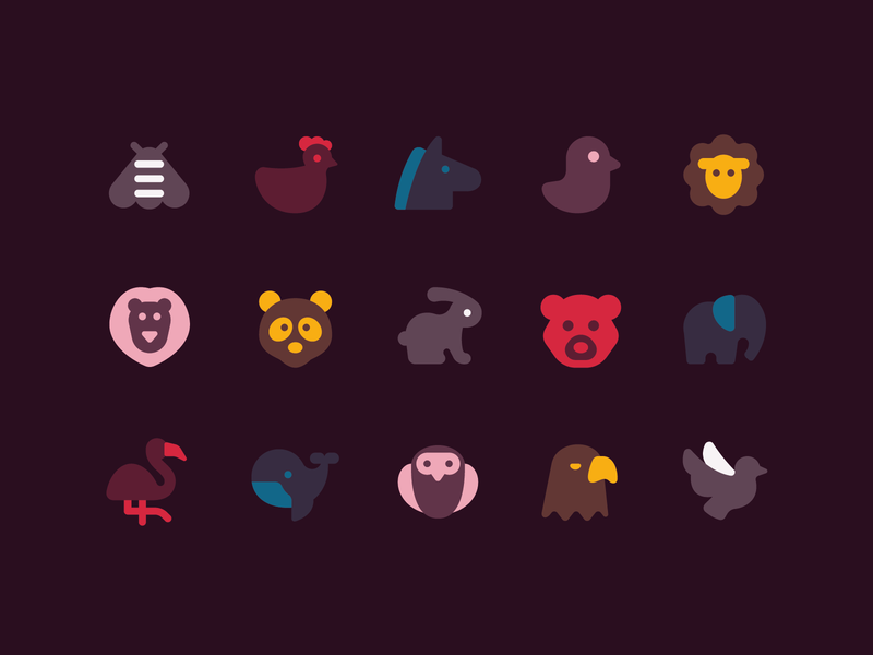 plumpy icons duotone stylized retro minimalistic birds domestic wild animals icons set ux icon design web ui vector
