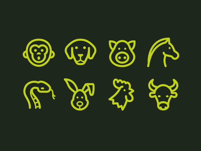 fluent system icons chinese zodiac rabbit ox snake horse pig dog monkey pixel perfect outline astrology animals ux icon design web ui vector